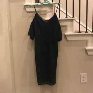 Bardot dark green lace off the shoulder dress